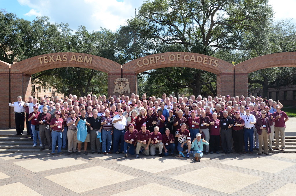 Classmates attending 45 year reunion
